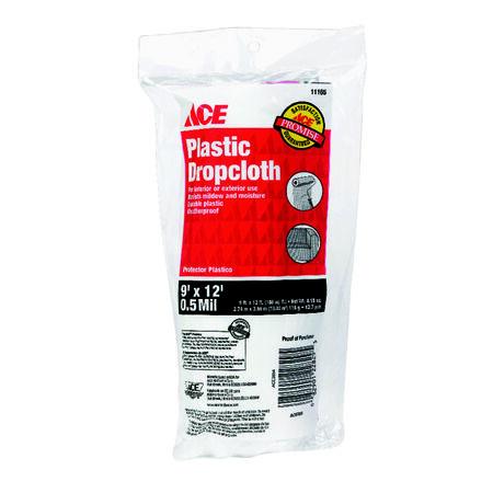 ACE Medium Weight Plastic Drop Cloth 9 ft. W x 12 ft. L x 0.5 mil