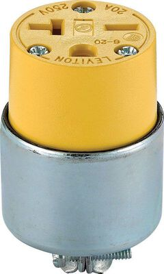Leviton Commercial Armored Grounding Connector 6-20R 2 Pole 3 Wire Yellow