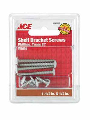 Ace Steel White Ornamental Shelf Bracket Screws Assorted in. L