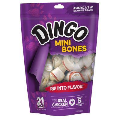 Dingo Small Adult Rawhide Bones Beef 2.5 in. L 9 oz. 21 pk