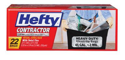 Hefty Contractor 45 gal. Trash Bags Twist Ties 22 pk