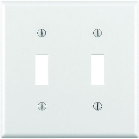 Leviton 2 gang White Thermoset Plastic Toggle Wall Plate 1 pk