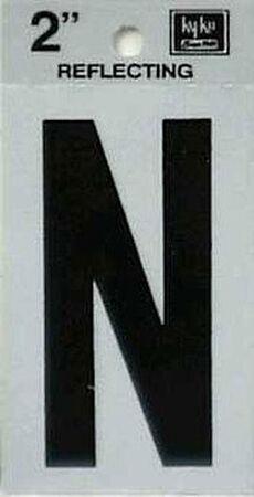 Hy-Ko Self-Adhesive Black Reflective Vinyl Letter N 2 in.
