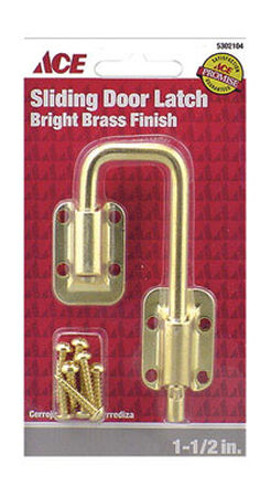 Ace Sliding Door Latch 1-1/2 in. Bright Brass Securing Metal or Wood Sliding Doors Trap bl