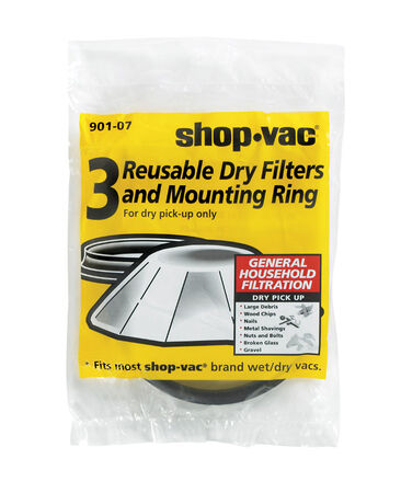 Shop-Vac Wet/Dry Vac Reusable Dry Filter 3 pk For Dry Pick Up Only