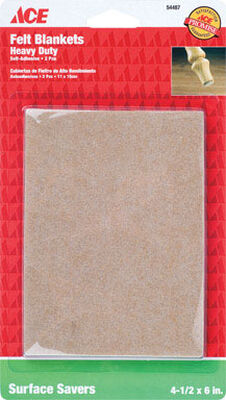 Ace Felt Rectangle Blanket Brown 4-1/4 in. W x 6 in. L 2 pk