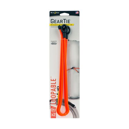 Nite Ize Gear Tie 24 in. L Bright Orange Twist Ties 2 pk