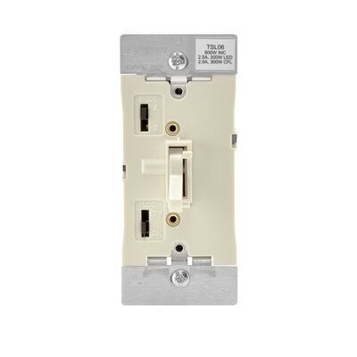 Leviton 2.5 amps 600W-120VAC Incandescent Toggle Dimmer Switch Light Almond