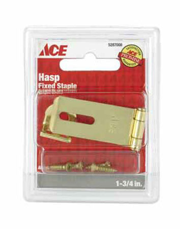 Ace Bright Brass Fixed Staple Safety Hasp 1-3/4 in. L