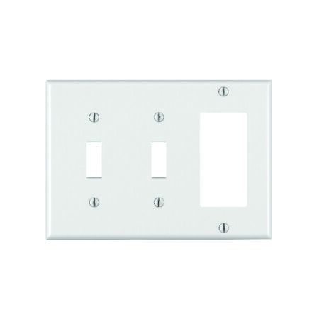 Leviton 3 gang White Plastic Toggle and Rocker/GFCI Wall Plate 1 pk