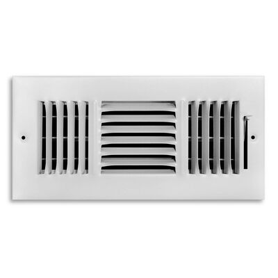 Tru Aire 6 in. H x 10 in. W White Steel 3-Way Supply Wall/Ceiling Register