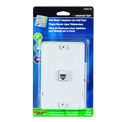 Monster Cable Just Hook It Up 1 gang White Cable/Telco Telephone Line Wall Plate