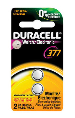 Duracell 377 Silver Oxide Watch/Electronic Battery 1.55 volts 2 pk