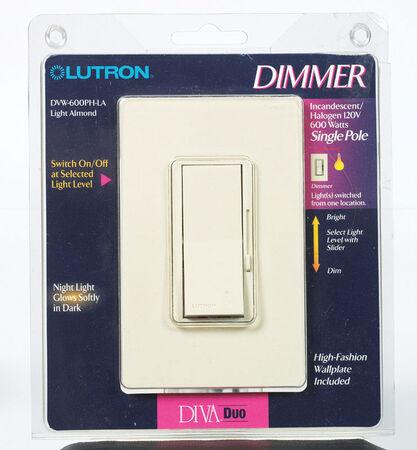 Lutron Diva 5 amps 600 watts Slide Dimmer Switch Light Almond