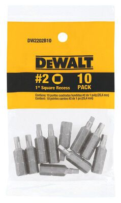 DeWalt #2 in. Square Recess Screwdriver Bit 1/4 in. Dia. 10 pc.