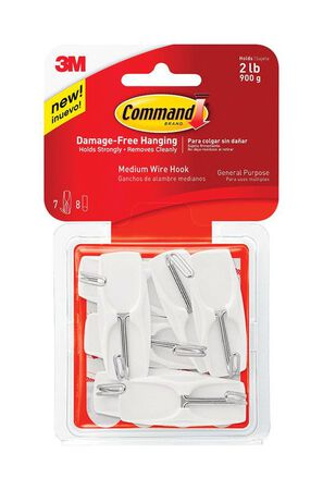 3M Command Medium Wire Toggle Hook 2-1/6 in. L Plastic 2 lb. per Hook 7 pk
