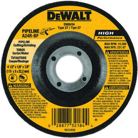 "4-1/2"" x 1/8"" x 7/8"" High Performance Pipeline Wheel"