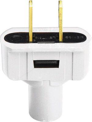 Leviton Residential Vinyl Non-Polarized Plug 1-15P 18-14 AWG 2 Pole 2 Wire White