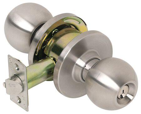 Tell Satin Storeroom Lockset 1-3/4 in. 2 Grade Left Handed Right Handed