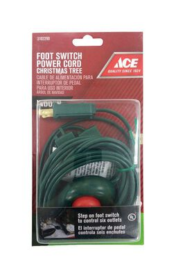Ace Indoor Step on Switch Extension Cord 15 ft. L Green