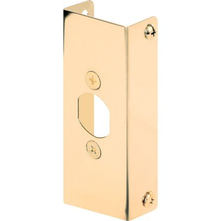 Prime-Line Door Edge Reinforcer Entry 1.13 in. 4-1/2 in. x 1 in. Brass Solid Brass Use on Thick Wood
