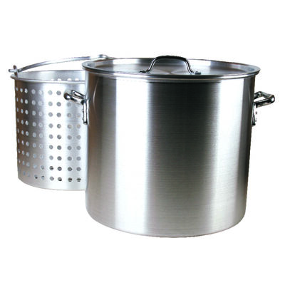 Fleur De Lis Aluminum Boiling Pot 80 qt. Silver