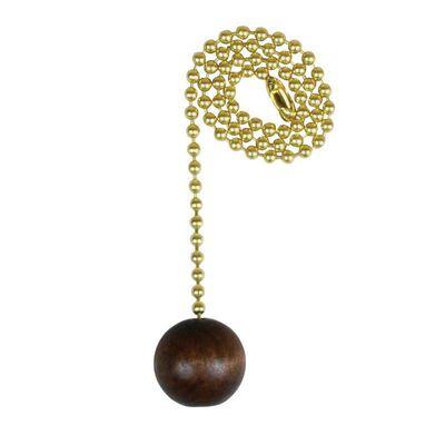 Jandorf Pull Chain Brass and Walnut 1 ft. L 1 pk