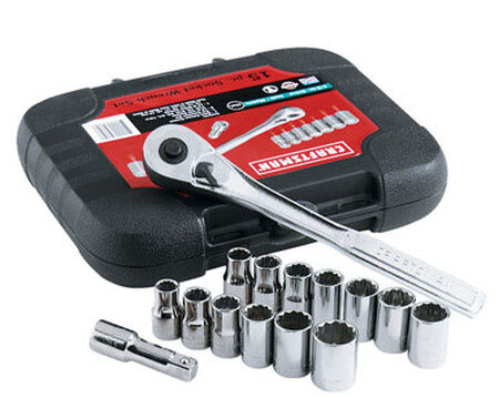 Craftsman 15 pc. Metric and SAE 15 pc. Alloy Steel 1/2 in. Drive Socket and Wrench Set