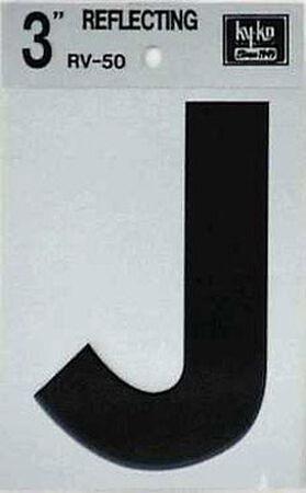 Hy-Ko Self-Adhesive Black 3 in. Reflective Vinyl Letter J