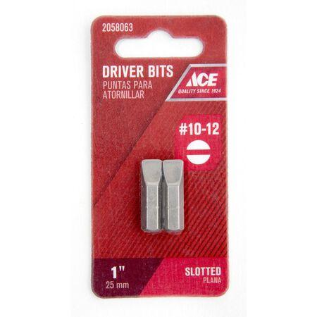 Ace #10-12 Slotted Screwdriver Bit 1/4 in. Dia. x 1 in. L 2 pc.