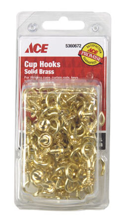Ace 7/8 in. L Bright Brass Brass Cup Hook 75 pk