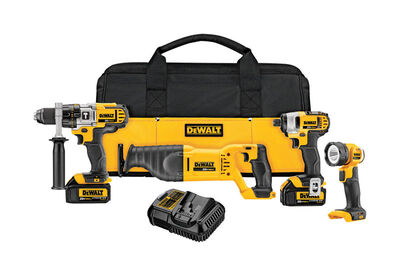 DeWalt 4 pc. Hammer Drill and Impact Driver Combo Kit Lithium Ion 20 volts 0-600/0-2 000 rpm