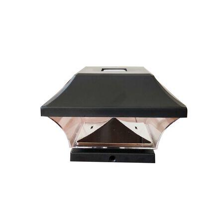 Living Accents Black Solar Powered LED Post Cap Light 2 pk