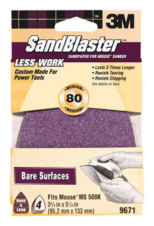 3M Sandblaster Mouse Sandpaper 5-1/4 in. L 80 Grit Medium 4 pk