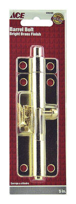 Ace Barrel Bolt 5 in. Bright Brass For Doors Chests and Cabinets
