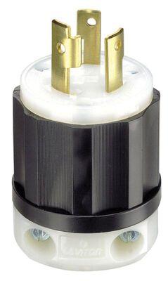 Leviton Industrial Nylon Grounding Locking Plug L6-30P 2 Pole 3 Wire Black/White