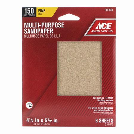 Ace 5-1/2 in. L x 4-1/2 in. W 150 Grit Aluminum Oxide 1/4 Sheet Sandpaper 6 pk