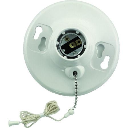 Leviton Pull Chain Socket 660 watts 250 volts White