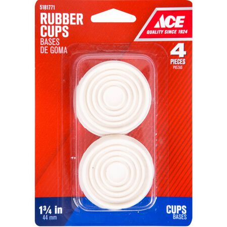 Ace Rubber Round Caster Cup White 1-3/4 in. W 4 pk