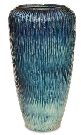"Tall Rounded Urns - Tropical Blue 8.75"" x 22.5"""