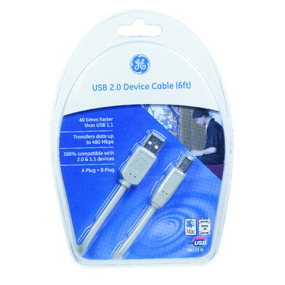 GE 6 ft. L White USB Cable