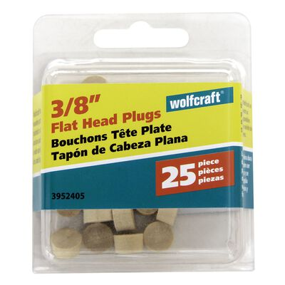 Wolfcraft Flat Hardwood Head Plug 3/8 in. Dia.