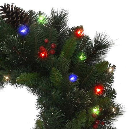 Celebrations 26 in. Dia. LED Prelit Decorated Cedar Pine Designer Wreath