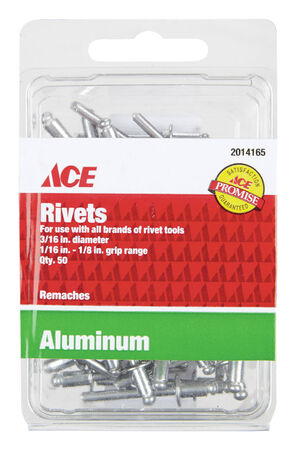 Ace 3/16 in. Dia. x 1/8 in. Aluminum Rivets 50 pk