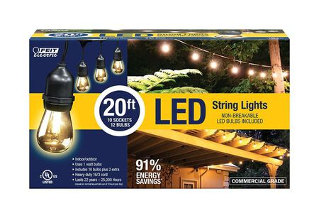 FEIT Electric LED Lantern Light String Clear 20 ft. L