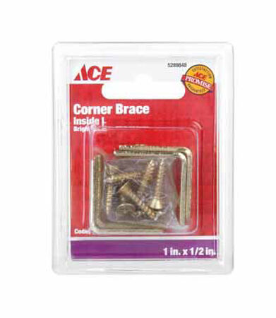 Ace Inside L Corner Brace 1 in. x 1/2 in. Brass