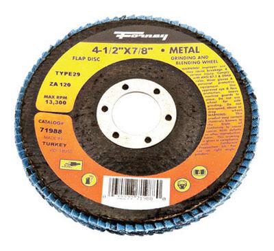 Forney 4-1/2 in. Dia. x 7/8 Blue Zirconia Arbor Flap Disc 120 Grit