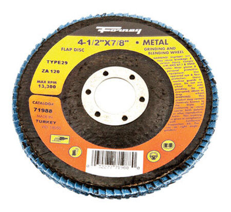 Forney 4-1/2 in. Dia. x 7/8 Blue Zirconia Arbor Flap Disc 120 Grit