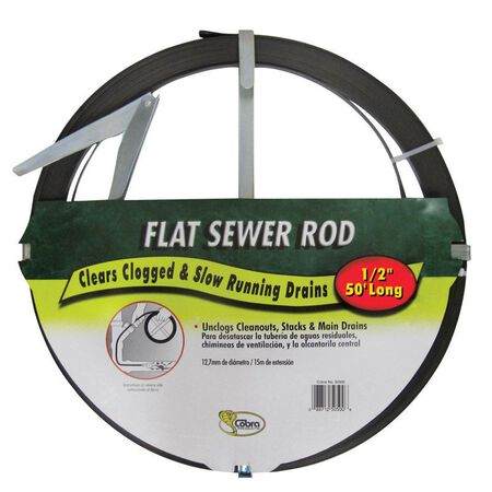 Cobra 1/2 in. Flat Steel Sewer Rod 50 ft. L