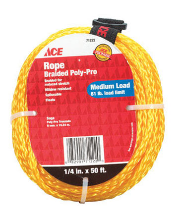 Ace 1/4 in. Dia. x 50 ft. L Braided Poly Rope Gold